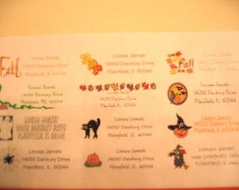 Fall/Halloween Glittered address labels sheet of 30