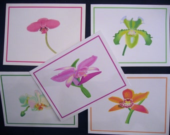 note cards orchids  set of 5