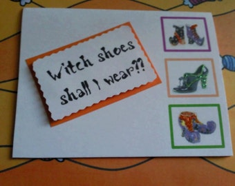 Witch shoes halloween card