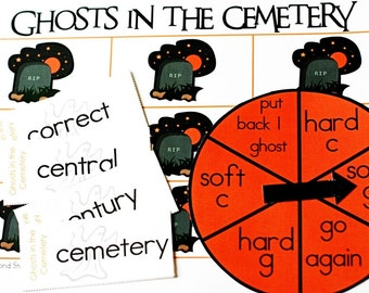 Ghosts in the Cemetery Printable Halloween Game and Skill Sheet