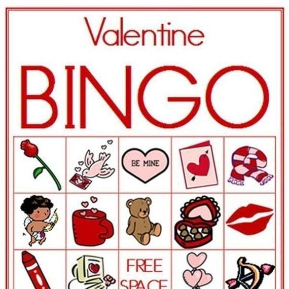 Delicate image inside valentine bingo free printable