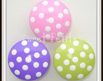 Hand Painted Drawer Knobs - Pink - Purple - Green - Polka Dots - Dresser Knobs