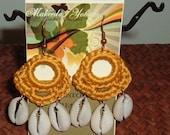 Golden Sun Crochet Cowrie Shell Chandelier Earrings