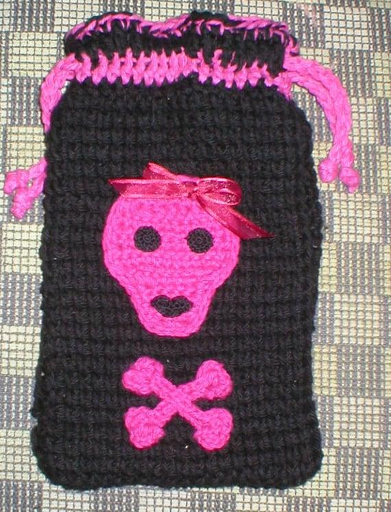 Tarot  or Rune Bag Skulls Have lips Roomy Crochet Bag