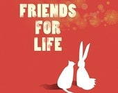 Rabbit Cat Art - Friends for Life (red) - 8x10