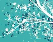 Tree Blossoms Art - Carefree Days (blue green) - 8x10 Print