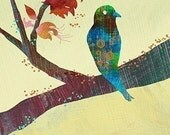 Modern Bird Illustration Print - The World Standing Still - 12x18 Art Print