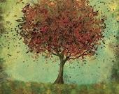 Art Print - Welcome Change (rustic green and burnt orange) - 12x18 Woodland Wall Art