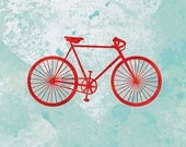 Bicycle Artwork - (red and turquoise) - 8x10 Print