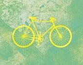 Bicycle Art Print (yellow and green) - 8x10 Modern bike wall art