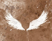 White Wings - modern wall art - 12x18 art print - Brown, Turquoise, Dusky Pink, Grey and Charcoal