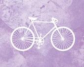 Bicycle Art Bike Print - 12x18 (purple and white)