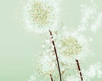 Dandelion Art - Perennial Moment (tea green) - 12x18 Print