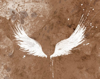 White Wings - Wings Art Print - Modern Wings Gift Print - Available in Brown, Turquoise, Dusky Pink, Grey and Charcoal