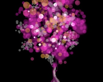 Modern Tree Art - Strawberry Bubblegum Tree (fuchsia and black)- 8x10 Print