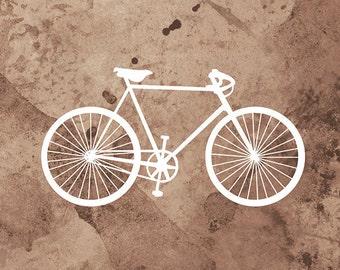 Bicycle Art Print - (brown and white) - 8x10 Print - Home Decor