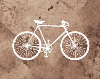 Bicycle Art (brown and white) - 12x18 Print