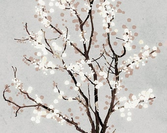 Silver Grey Tree Blossoms Art Print - Dancer in the Dark (silver) - 12x18 Print gray