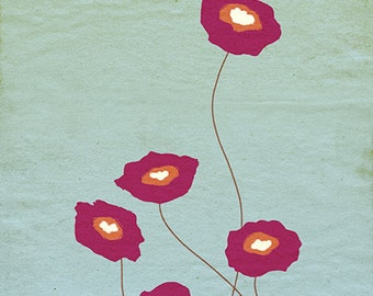 24x36 Art Print - Red poppies - Stay Close - 24 x 36 LARGE Print - Flower art