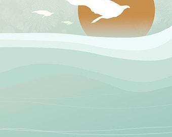 Ocean Waves Art - Over the Waves - 8x10 - Summer Birds - Blue Green