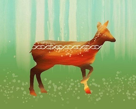 Deer Art Modern - Morning in the Forest - 8x10 Print - Orange Green - Woodland