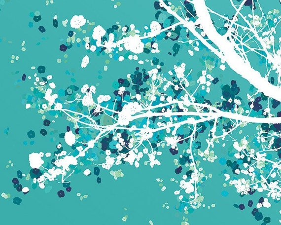 Tree Blossoms Art - Carefree Days (blue green) - 8x10 Print