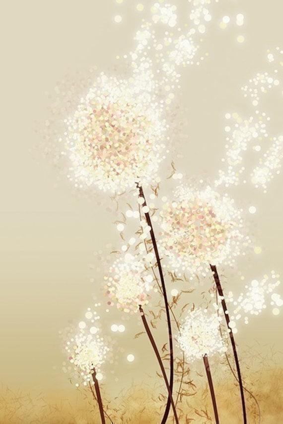 Perennial Moment (gold) - 12x18 Art Print - Dandelion Art