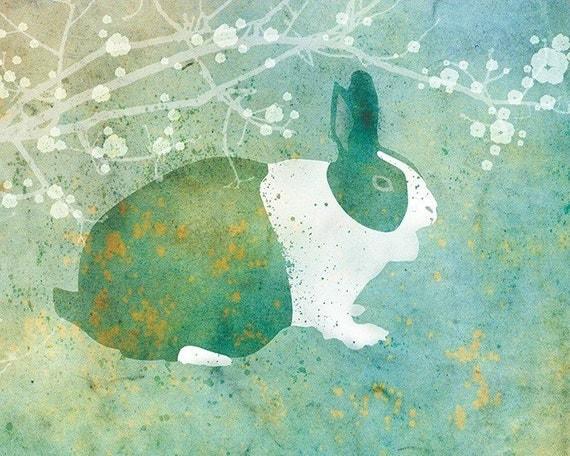 Bunny Rabbit Art - Belmont - 8x10 Print - Green and Blue - Flowers