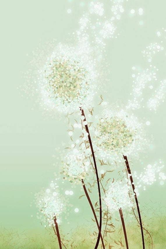 Dandelion Art - Perennial Moment (tea green) - 24x36 LARGE Print