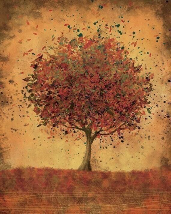 Autumn Home Decor Art Welcome Change Burnt Orange 8x10 Print