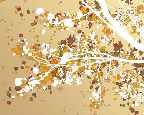 Tree Blossoms Art Print - 8x10 - Carefree Days (gold)
