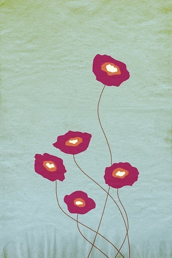 Red Poppies Print - Stay Close - 12x18 - Modern Wall Art