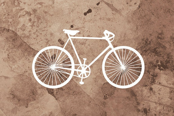 Bicycle Art Print - (brown and white) - 24x36 Fine Art Print