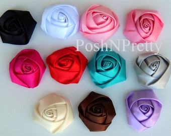 5 PCS Satin Rolled Rose flowers - 2.2 inches- PICK COLORS