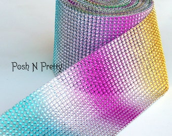 ONE yard RAINBOW Multi DIAMOND mesh - 5 inches wide