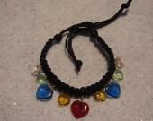 black hemp bracelet with multicolored heart beads