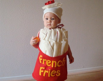 Baby French Fry Costume  Infant Newborn Toddler  Halloween Costume French Fries with a Dollop of Ketchup Dress Up Photo Prop Purim