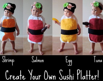 Baby Halloween Costume  Sushi Costume  Photo Prop  Newborn Costume  Infant Costume  Group Costume  Ginger  Wasabi  Nigiri Sushi  Children