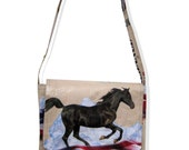 Recycled Horse Feed Bag Messenger Tote