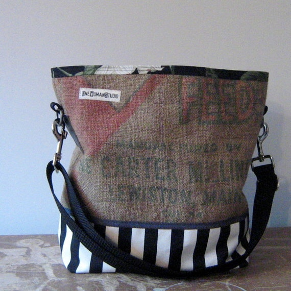 Recycled Burlap and Fabric Bucket Bag : Carter Milling