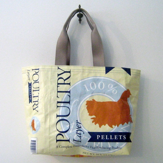 Recycled Chick Feed Bag Tote