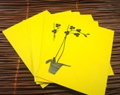 Flat Cards w/ Embossed Orchid Detail - Bright Yellow