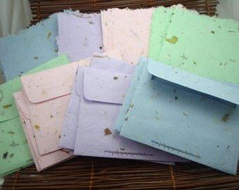 Handmade Paper Stationary and Envelope Set of 5