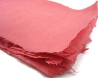 8.5x11 inches Handmade Paper - Crimson - 10 Sheets