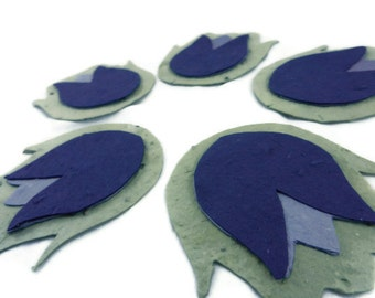 Wilflower Seeded Paper Tulip Favors - Green, Purple, and Lavendar - 3 inch -  30 count