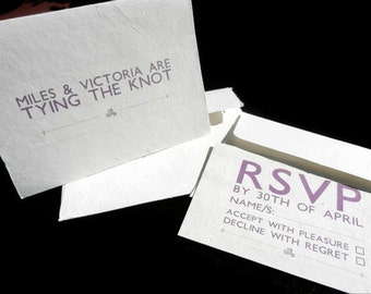 Wedding/Shower Invitations with RSVP Card - 20 - Sustainable, Earth-Friendly, Tree-Free Handmade Paper - Modern Lace