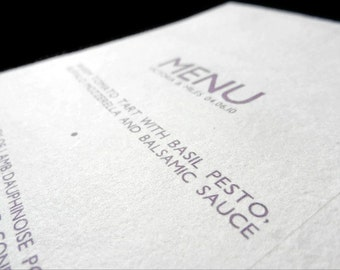 Menus - 20 - Sustainable, Earth-Friendly, Tree-Free Handmade Paper - Modern Lace