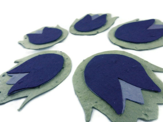Wildflower Seeded Paper Tulip Favors - Green, Purple, and Lavendar - 3 inch -  30