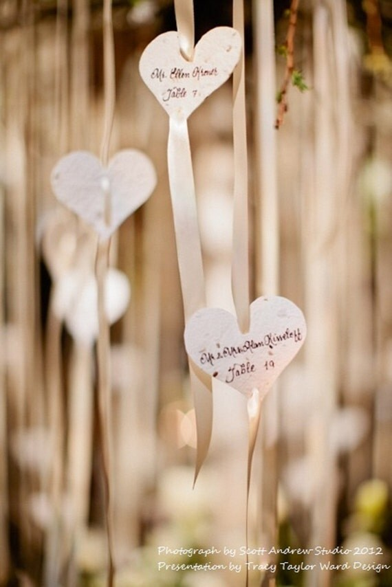 White Seed Paper Heart Tags/Favors - 50 count