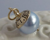 RESERVED- craz4mms - 3 Wedding  Pennies Plus-Something Blue- hand stamped custom wedding bouquet charm- GOLD